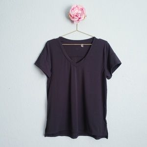 Zella Black V Neck Solid Tee